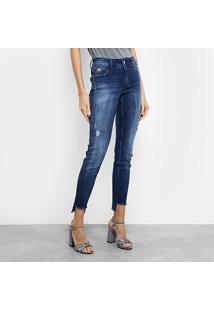 ... Calça Jeans Colcci Estonada Marmorizada Cintura Média Feminina -  Feminino-Azul 696d3125725