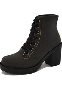 Bota Navit Shoes Tratorada Woman Lona Preto