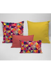 Kit 4 Almofadas Premium Geométricos Multicolor