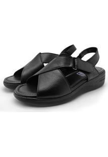 Sandalia Ortopedica Couro Dia A Dia Iac Calçados Preto