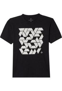 Camiseta Dudalina Manga Curta Malha Quadrados Diferenciados Masculina (Cinza Mescla Escuro, M)