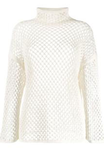 Agnona Mesh Construction Knitted Top - Branco