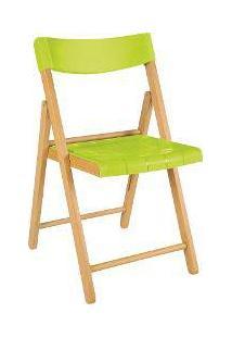Cadeira Potenza De Madeira Tauarí Envernizada E Plástico Verde Dobráveis Fold - Tramontina