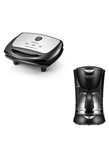 Combo Cozinha - Sanduicheira Super Grill Inox -1200W Antiaderente Preta E Cafeteira Elétrica Gourmet -200W Preta - Ce12K Preto