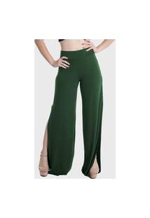 Calça Pantalona Laterais Abertas Cintura Alta Lynnce Verde Escuro