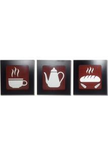 Kit 3 Quadros Decorativos Para Café E Cozinha Fabricado Em Mdf Com Relevo 33X30Cm