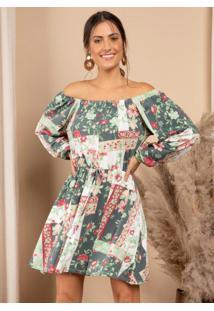 Vestido Curto Floral Geométrico Mangas Longas