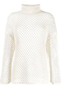 Agnona Mesh Construction Knitted Top - Branco