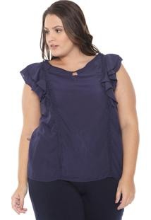 Blusa Lily Fashion Babado Azul-Marinho