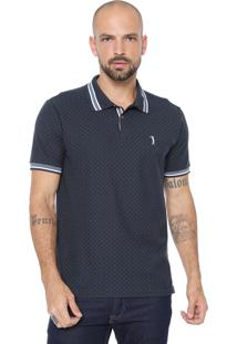 Camisa Polo Aleatory Reta Poá Azul-Marinho