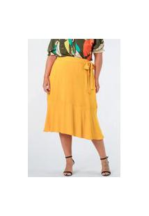 Saia Almaria Plus Size Munny Midi Camada Amarelo