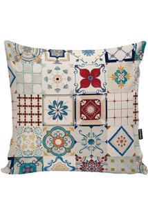 Capa Para Almofada Indian- Bege Claro & Azul- 45X45Cstm Home