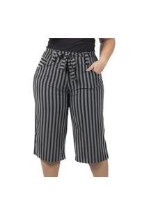 Calça Pantacurt Plus Size Cinza Com Cinto