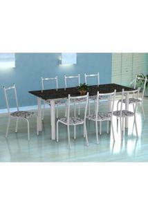 Conjunto De Mesa Cordoba Com 8 Cadeiras Lisboa Branco E Branco Floral