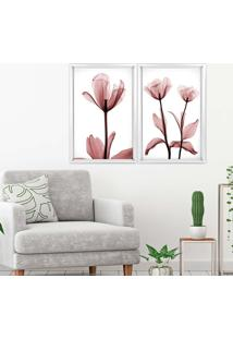 Quadro Com Moldura Chanfrada Flores Rose Branco - Grande