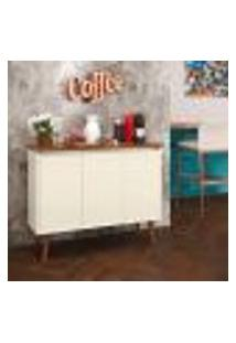 Aparador Buffet Retrô 3 Portas Luxo - Off White / Freijó - Ej Móveis