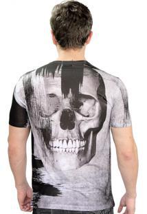 Camiseta Klauk Caveira Manchas Cinza