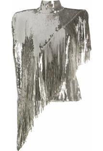 Balmain Blusa Assimétrica Com Paetês - Prateado