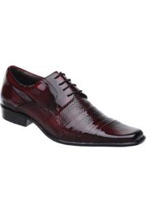 Sapato Social Couro Malbork Verniz Masculino - Masculino-Preto+Vermelho