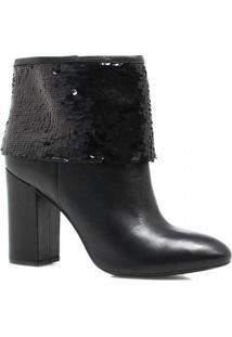 Bota Cano Curto Zariff Shoes Ankle Boot Lantejoulas Feminina - Feminino-Preto