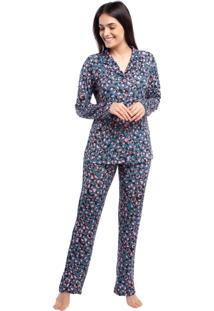 Pijama Feminino De Inverno Aberto Amalfi - Tricae