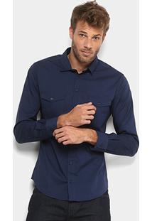 Camisa Colcci Slim Manga Longa 2 Bolsos Masculina - Masculino-Azul