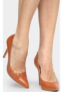 Scarpin Couro Shoestock Cravinhos - Feminino-Caramelo