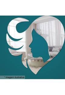 Espelho Coração & Mulher- Espelhado- 25X25X2Cm- Cia Laser