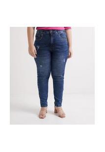 Calça Jeans Skinny Com Tachinhas Nos Bolsos Curve & Plus Size | Ashua Curve E Plus Size | Azul | 54