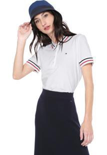 Camisa Polo Tommy Hilfiger Reta Listras Branca