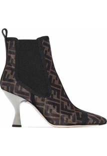 Fendi Ankle Boot Marrom Com Mesh E Salto 85Mm
