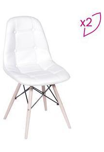 Or Design Jogo De Cadeiras Eames Boton㪠Branco & Bege Claro 2Pã§S