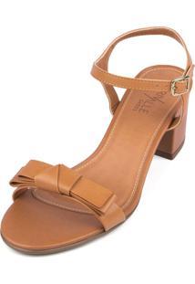 Sandalia Trivalle Shoes Bege Escura Com Laco