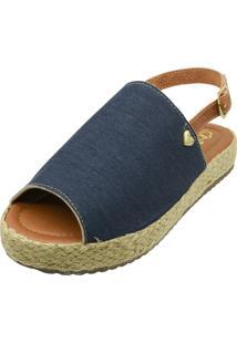 Sandália Romântica Calçados Flatform Coração Azul Jeans
