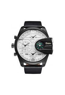 Relógio Masculino Oulm Hp3790 Com Bússola - Preto E Branco