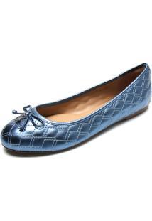 Sapatilha Dumond Metalizada Matelassê Azul