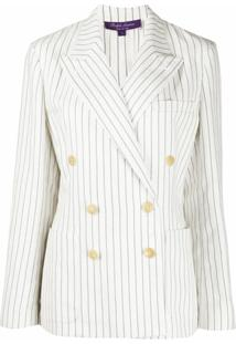 Ralph Lauren Collection Blazer Com Abotoamento Duplo E Listras - Branco