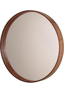 Espelho Redondo Com Moldura Em Madeira 35Cm Imbuia