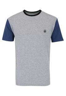 Camiseta Volcom Especial Circle Stone - Masculina - Cinza/Azul