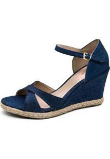 Sandália Anabela Jeans Em X Enfachetada No Tecido Acabamento Em Corda (7014) Anyp Shoes