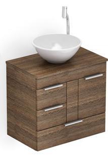 Gabinete Para Banheiro Em Mdf Com Cuba Redonda Basic 60X38Cm Wengué