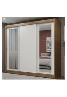 Guarda-Roupa Casal Madesa Kansas 3 Portas De Correr Com Espelhos 3 Gavetas Rustic/Branco Cor:Rustic/Branco