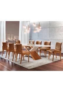 Conjunto De Mesa De Jantar Alice Com 8 Cadeiras Bella Gold Corino Off White E Caramelo