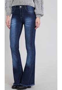 3e022f8857 ... Calça Jeans Feminina Sawary Flare Com Barra Desfiada Azul Escuro