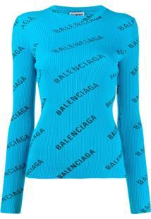 Balenciaga Suéter Canelado Com Estampa De Logo - Azul