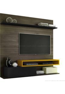 Estante Home Theater Para Tv Até 60 Polegadas 1 Porta Basculante Qn795 100% Mdf 150 X 180 X 40 Carvalho Francês/Preto Silk/Amarelo Ipê - Quiditá