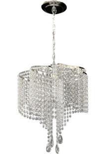 Lustre Redondo Lina Design Cristal Acrílico Bivolt Orlando 42X75 Prata