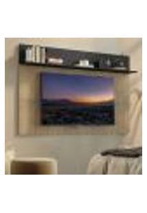 "Painel Tv 65"" C/ Prateleira Amsterdã Plus Multimóveis Rustic/Preto"