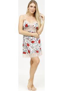 Camisola Acetinada & Floral Com Renda- Nude & Vermelha
