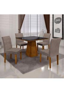 Mesa De Jantar Itália 0,90M Com Vidro Preto + 4 Cadeiras Olímpia Animale Capuccino - Canela